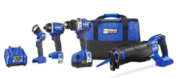 Kobalt 24-Volt Max 4-Tool Lithium Ion (Li-ion) Brushless Motor Cordless Combo Kit with Soft Case