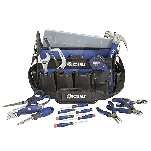 KOBALT 22pc HOUSEHOLD TOOL SET KNIFE HAMMER PLIERS WRENCH SAW SCREWDRIVERS BAG