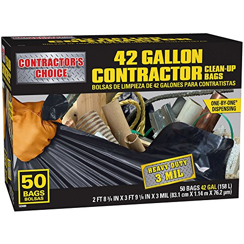 Contractor's Choice 50-Count 42-Gallon Outdoor Construction Trash Bags