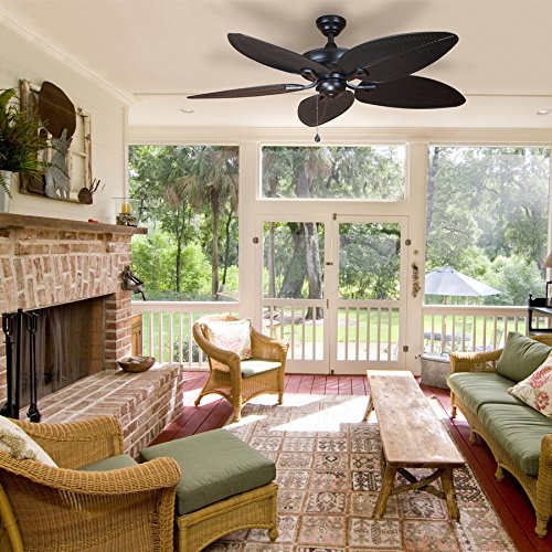 Harbor Breeze Pacific Grove 52-in Oil-Rubbed Bronze Indoor Downrod or Flush Mount Ceiling Fan