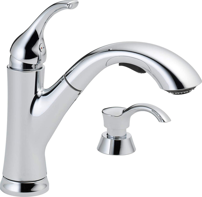Delta Faucet 16932-SD-DST Single Handle Pull-Out Kitchen Faucet with Soap Dispenser, Chrome
