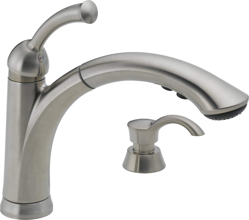 Delta Lewiston Single Handle Pull-Out Kitchen Faucet With Soap Dispenser