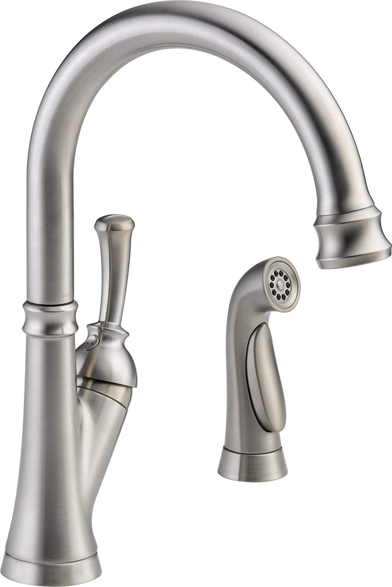Delta Faucet 11949-SS-DST Savile, Single Handle Kitchen Faucet with Spray, Stainless