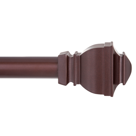"1"" Riley Curtain Rod With Sculpted Square Finials, 30"" to 84"""
