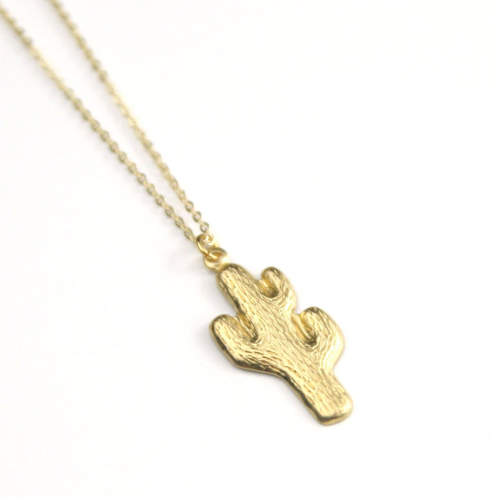 Peachtree Lane - Cactus Shape - Brass Necklace