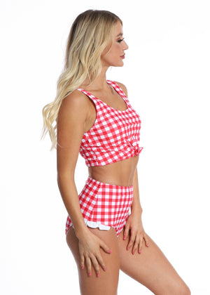 Hip Ruffle Bottoms || Red Gingham