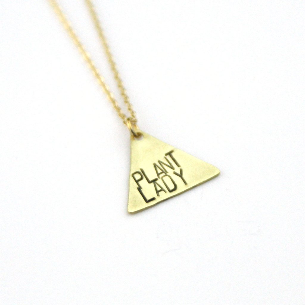 Peachtree Lane - Plant Lady - Brass Stamped Necklace