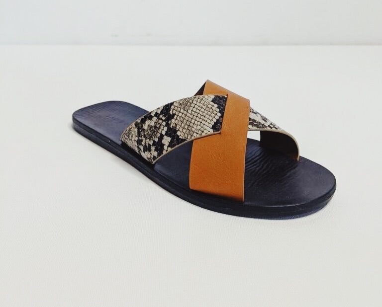 Sahara Slide || Orange/Snake or Tan/Snake