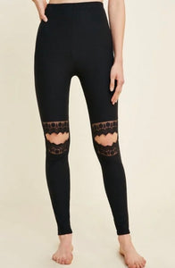 Lady Lace Knee Leggings || Black