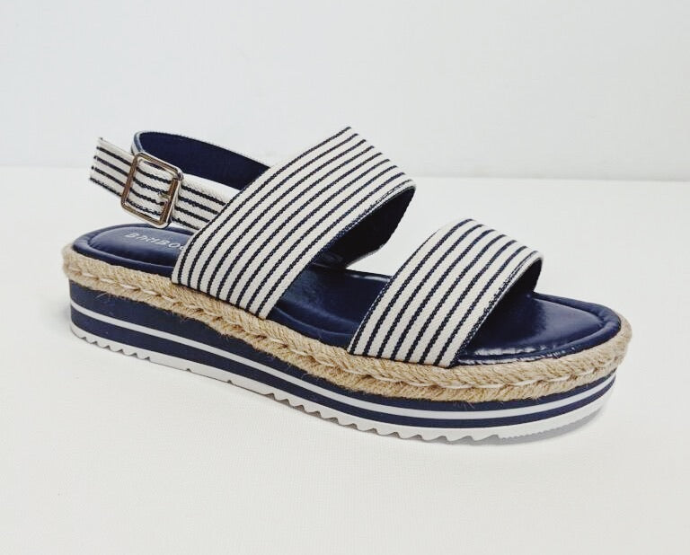 High Tide Espadrille Wedge || White or Navy Stripe