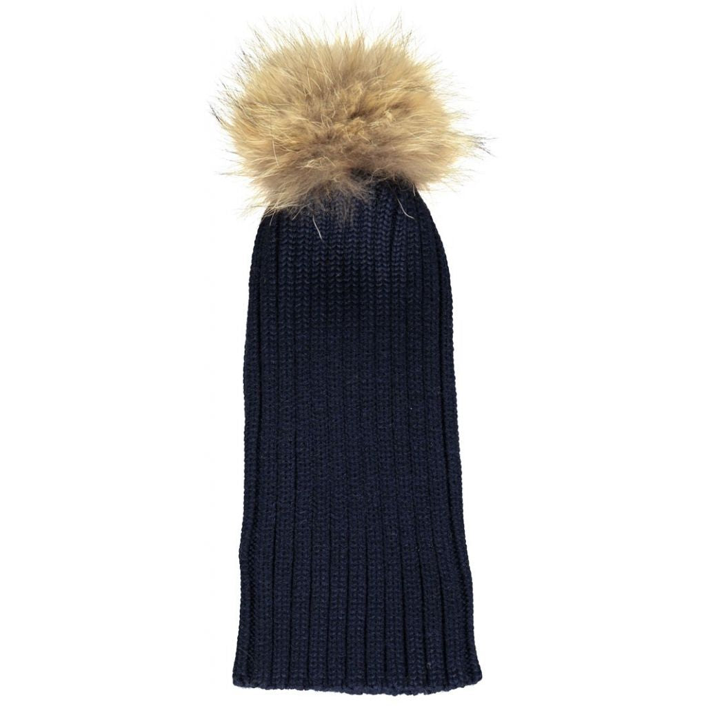 b72e0bd092c Wool   Raccoon Fur Pom Pom Beanie Hat – La Fur Couture