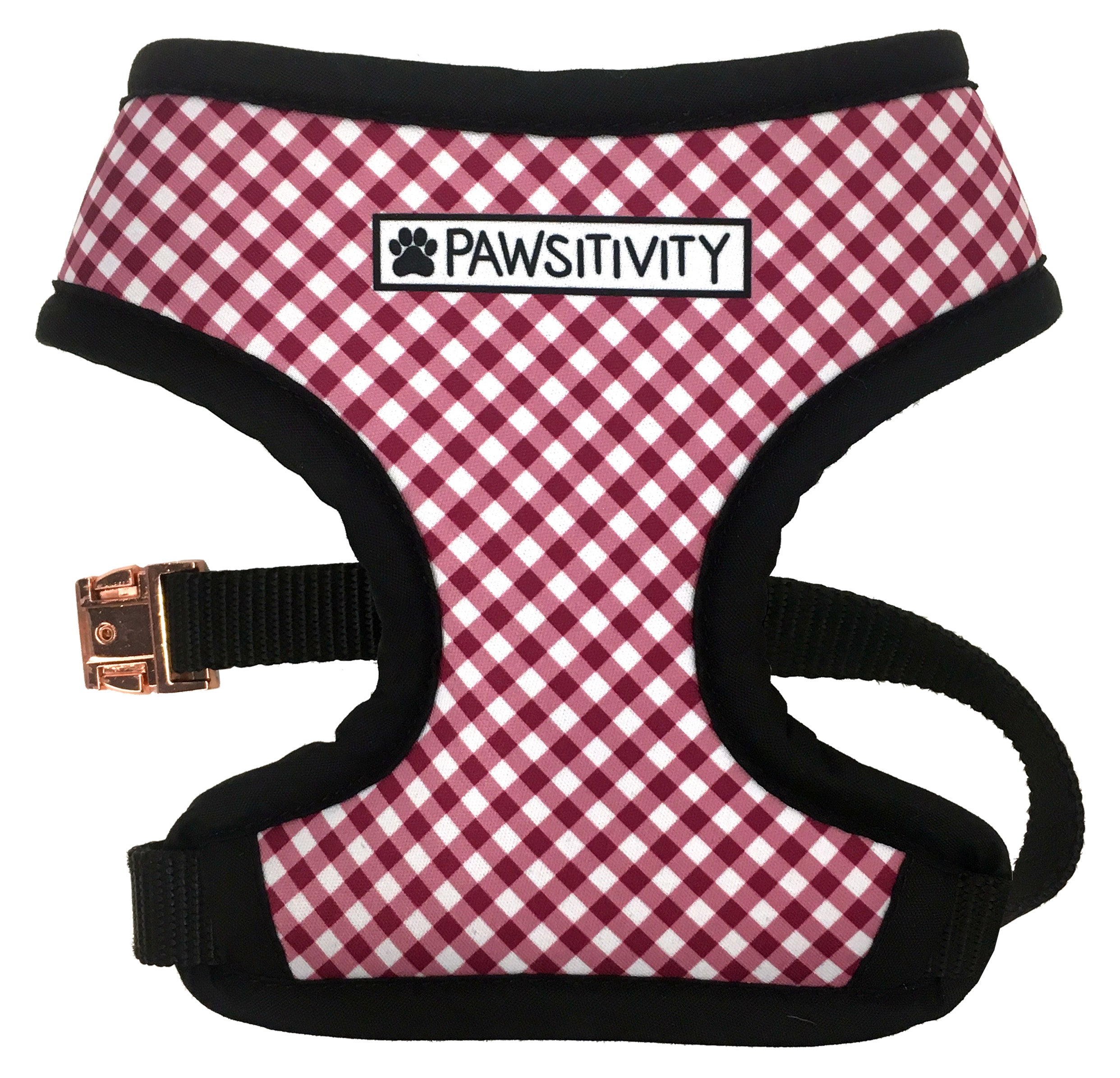 Pawsitivity Reversible Harness - Apples & Burgundy Gingham