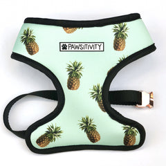 Pawsitivity Reversible Harness - Mint Pineapples & White Marble