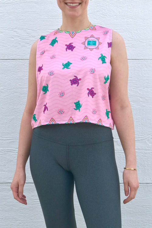 Sea Turtle Conservancy Pink Lotus Turtles Women's Relaxed Tank