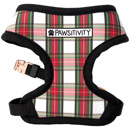 Pawsitivity Reversible Harness - Holiday Plaid & Trees
