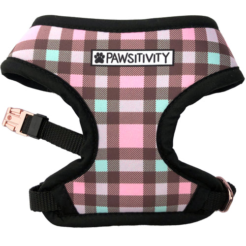 Pawsitivity Reversible Harness - Pink Winter Adventure & Plaid