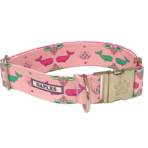 "Naples Pink Whales 1.5"" Collar"