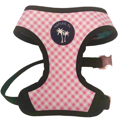 Reversible Harness - Naples Paradise Print & Pink Gingham