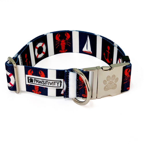 "Navy Nautical 1.5"" Statement Collar"