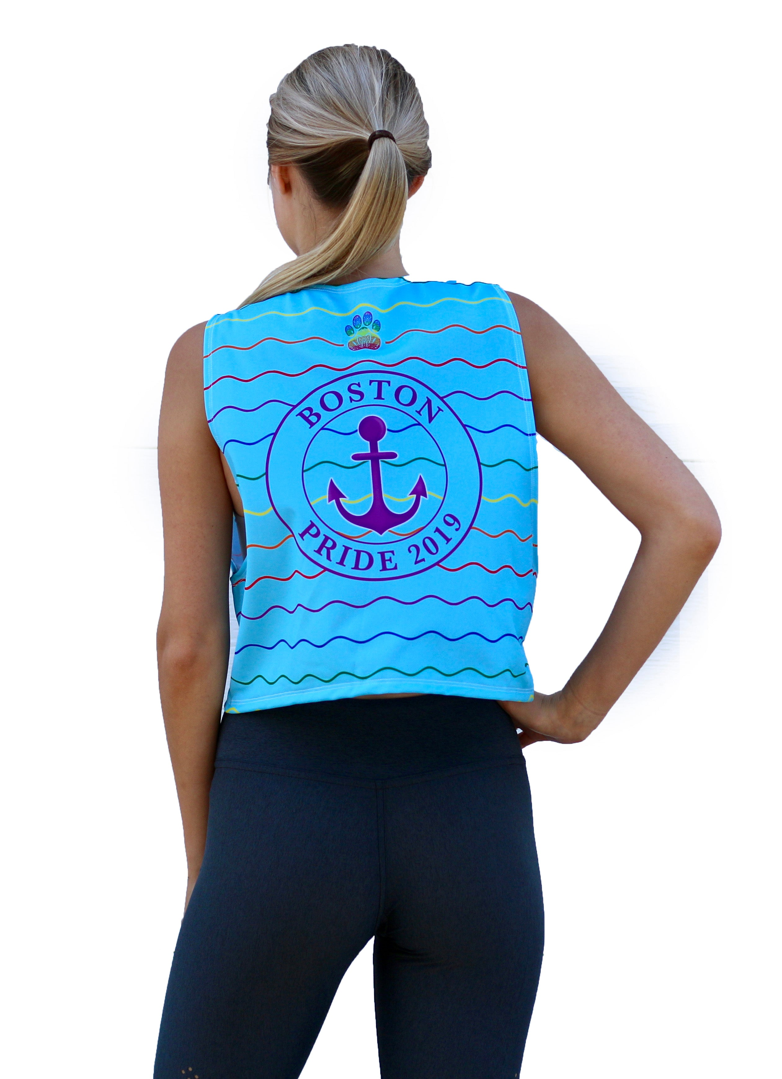 Women's Light Blue Waves Pride Relaxed Fit Tank
