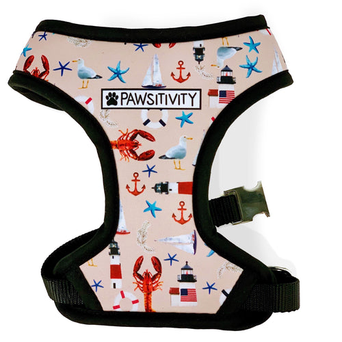 Pawsitivity Reversible Harness - Anchor Stripe & Lobster