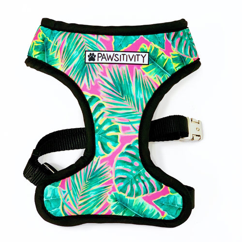 Pawsitivity Reversible Harness - Cocktail Flamingo & Pink Palms