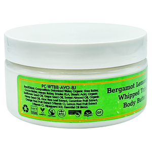 Bergamot Lemongrass Whipped Triple Body Butter | 8 oz