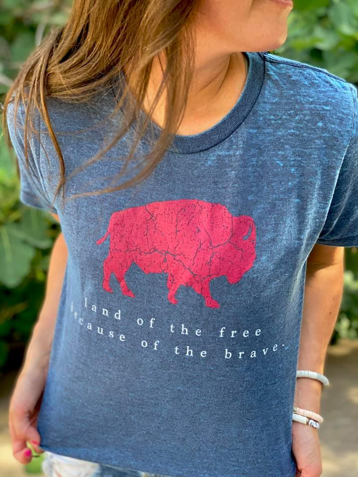 Land of the Free because of the Brave Boutique Burnout Tee