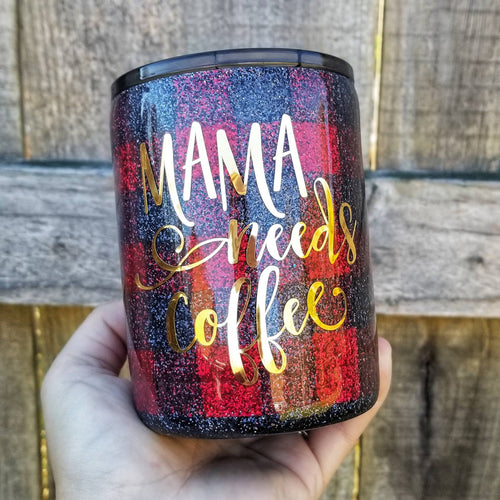 Buffalo Plaid Mama Needs Coffee Glitter tumbler