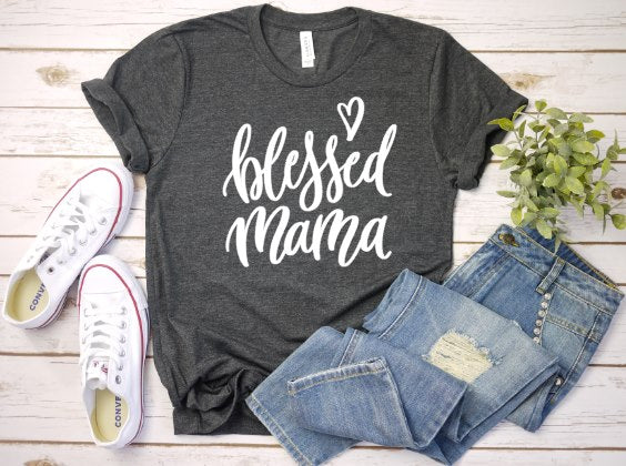Blessed Mama T shirt in Charcoal