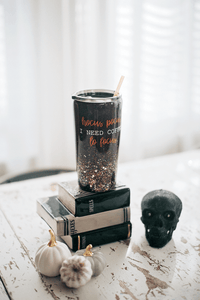 Hocus Pocus I Need Coffee to Focus Glitter Tumbler