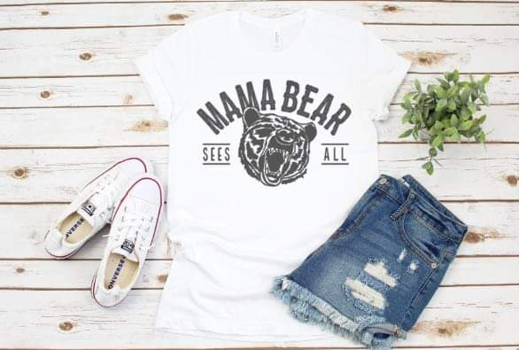 Mama Bear Angry Bear T shirt in White