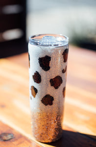 White and Gold Leopard Glitter Tumbler