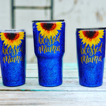 Navy blue Blessed Mama Glitter Tumbler