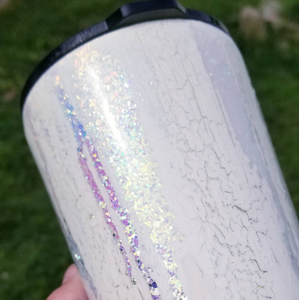 Crackle White Glitter Bride Tumbler