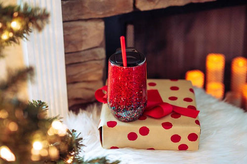 Red and Green Christmas Glitter Tumbler