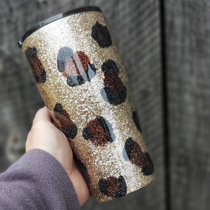 Leopard Glitter Tumbler Ready to Ship