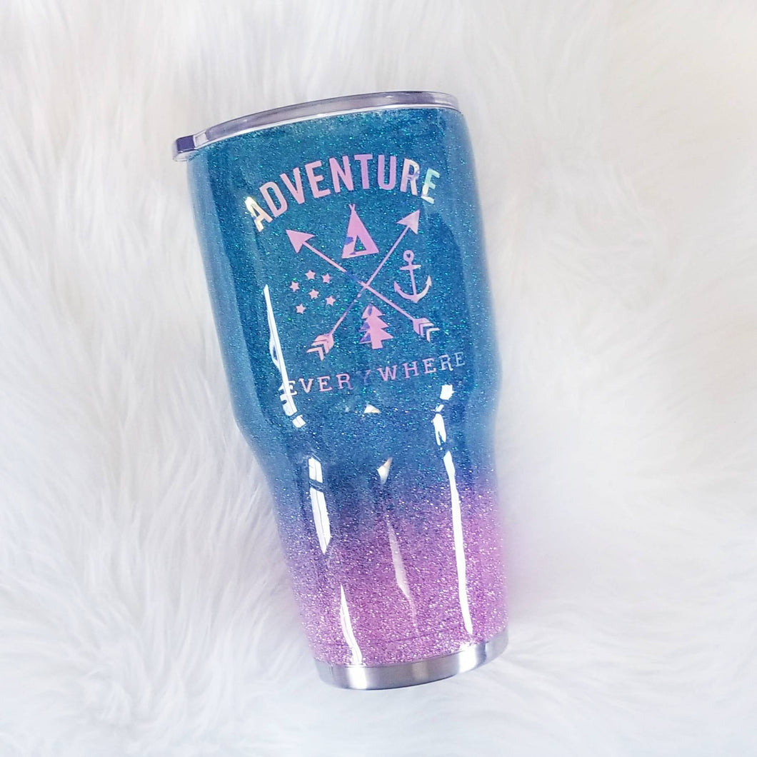 Glitter Tumbler - Ombre Tumbler -Coffee Lover - Adventure Awaits - Personalized Tumbler - Coffee Lover Gift - Glitter Yeti - Adventure Gift