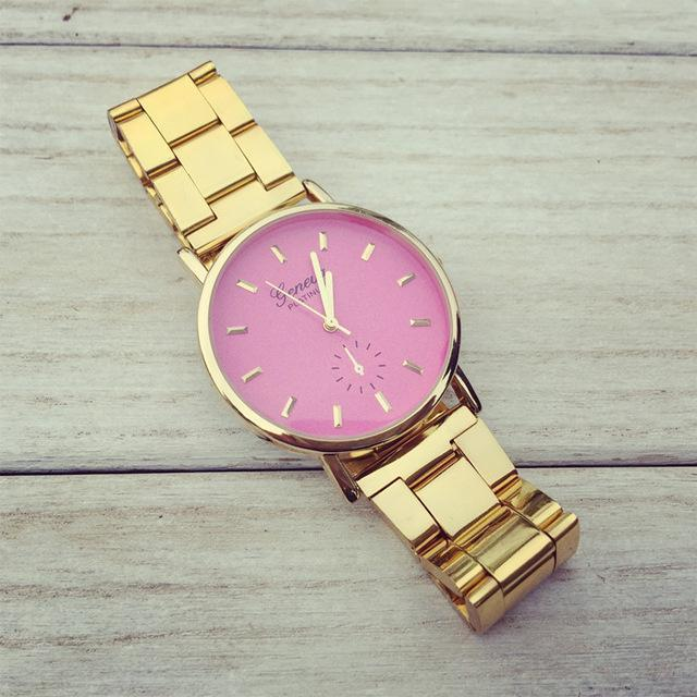 Women Gold Watch New High-Polished Bracelet Watch With Colour Dial - The Happy Tourist LTD