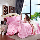 Mitation silk quilt red satin sheets cotton solid satin duvet cover set
