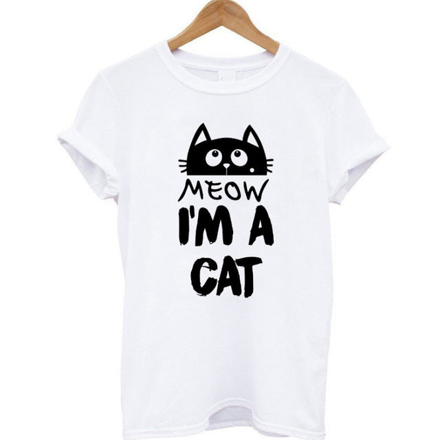 2017 100% Cotton Meow Print Women T shirt
