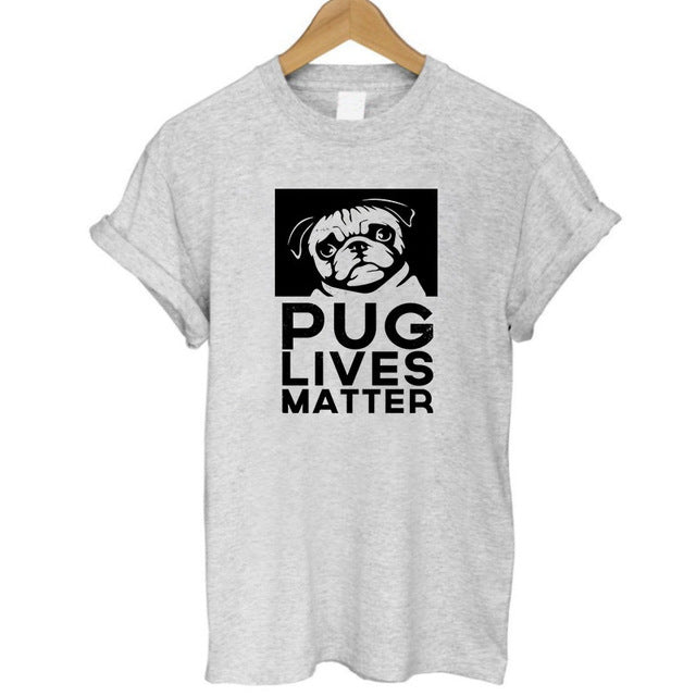 casual loose design o-neck women cute pug print T-shirt