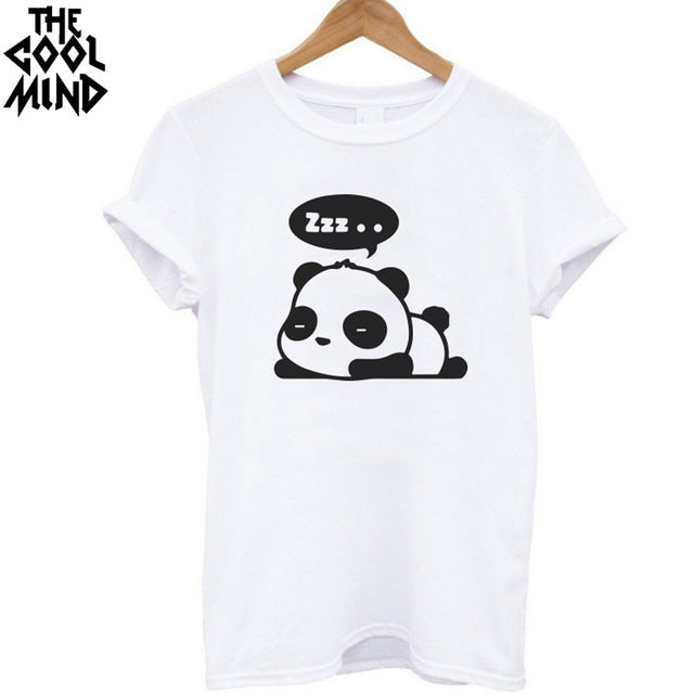 Top quality Cotton Fashion panda print loose women tshirt