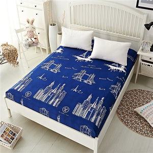 Blue Night Sky Printed Bedding Fitted Sheet
