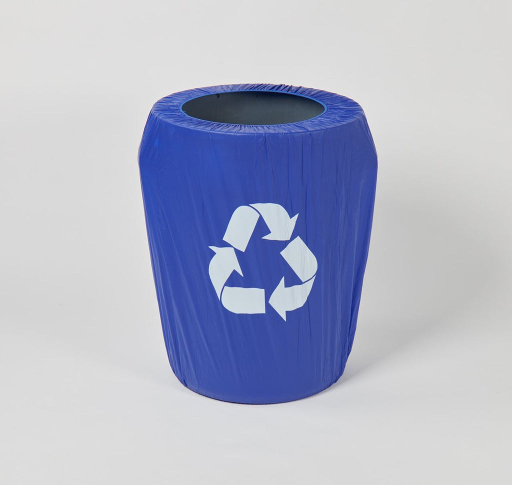 Blue w/ Recycle Sign Fitted Plastic Can Covers - Kwik-Can