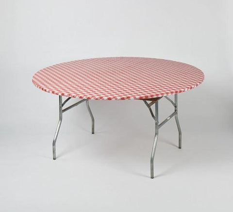 "Kwik-Covers 48"" & 60"" Round Fitted Printed Plastic Table Covers- Gingham Print Red-white/Blue-White"
