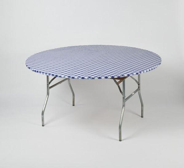Gingham Check Round Fitted Plastic Table Cover Variety Pack Maine