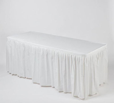 White Disposable Kwik-Skirt Fitted Plastic Table Skirt