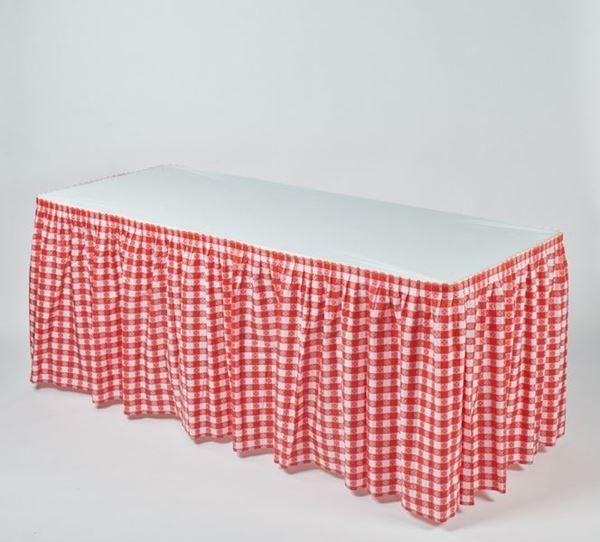 Red/White Gingham Check Disposable Kwik-Skirt Table Skirt