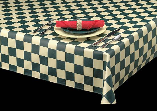 Premium Laminated Vinyl Tablecloth, Checkered Print, 3 Colors, S1290